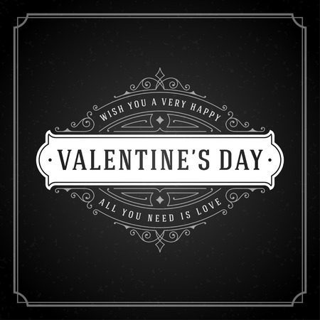 valentino: Happy Valentines Day greeting Card or Poster and Heart vector illustration. Retro typographic design chalkboard background. Happy Valentines Day background, Valentines Card, Love Concept.