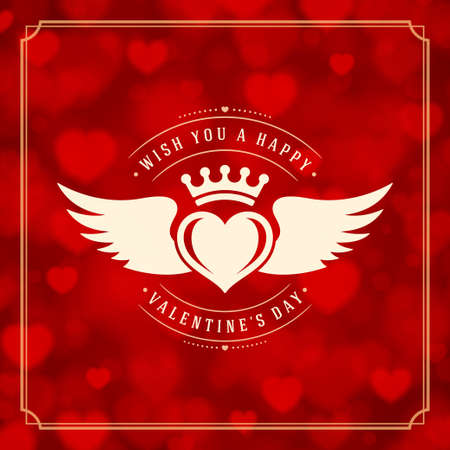 valentino: Valentines Day greeting card or poster vector illustration. Retro typographic design and Red Bokeh Lights Hearts Sparkles background. Happy Valentines Day background, Valentines Card, Love Concept.
