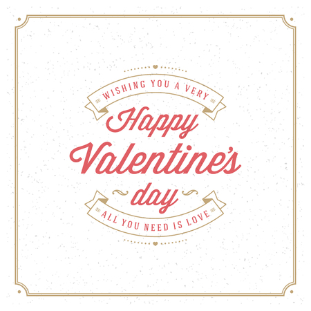 Happy Valentine's Day Greeting Card or Poster Vector illustration. Retro typography design and texture background. Happy Valentines Day background, Valentine Card, Love Heart.