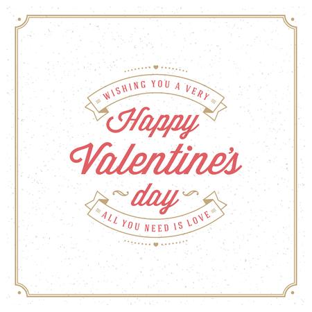 De gelukkige Kaart van Valentijnsdag Groet of Poster Vector illustratie. Retro typografie ontwerp en textuur achtergrond. Happy Valentines Day achtergrond, Valentine Card, Hart van de Liefde. Stock Illustratie