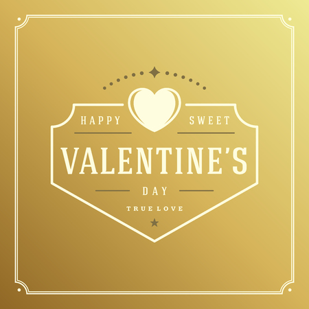 valentino: Happy Valentines Day Greeting Card or poster vector illustration. Retro typographic design vintage ornament golden style background. Happy Valentines Day background, Valentines Card, Love Concept.