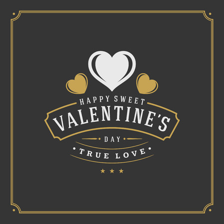 valentino: Happy Valentines Day greeting Card or Poster and Heart vector illustration. Retro typographic design golden style on black background. Happy Valentines Day background, Valentines Card, Love Concept.