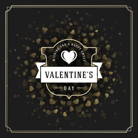 valentine card: Valentines Day greeting card or poster vector illustration. Retro typographic design and heart shape on Golden Sparkles background. Happy Valentines Day background, Valentine Card, Love Concept. Illustration