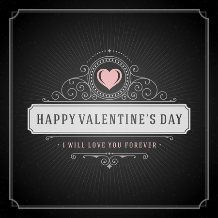 concep: Valentines Day greeting Card or Poster and Heart vector illustration. Retro typographic design chalkboard background. Happy Valentines Day background, Valentines Card, Love Concep, Valentines label.