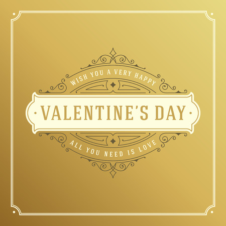 valentino: Valentines Day greeting card or poster vector illustration. Retro typographic design and heart shape on golden style background. Happy Valentines Day background, Valentines Card, Love Concept. Illustration