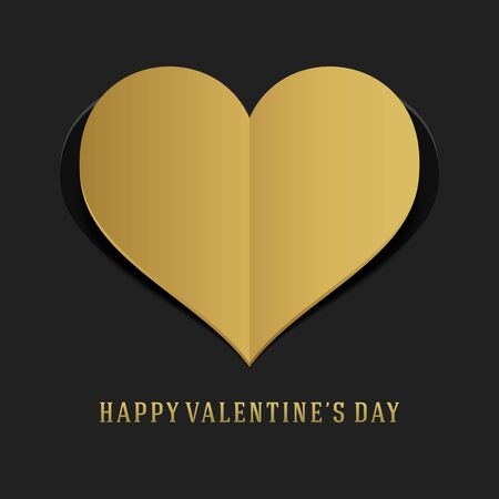 greeting card background: Valentines Day Greeting Card or Poster Gold Heart from Paper Vector Background. Happy Valentines Day background, Valentine Card, Love Concept.