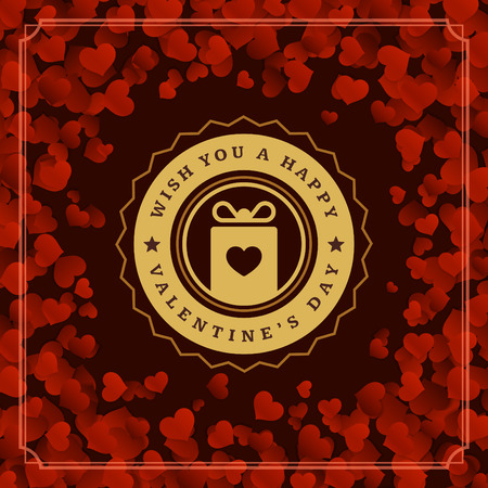 heart month: Valentines Day greeting card or poster vector illustration. Retro typographic design and Red Hearts Confetti Background. Happy Valentines Day background, Valentine Card, Love Concept.
