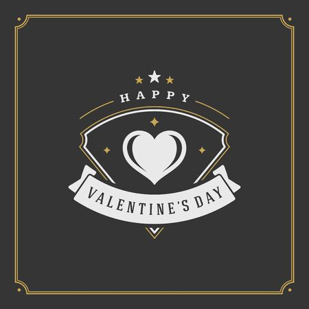 valentino: Valentines Day greeting Card or Poster and Heart vector illustration. Retro typographic design golden style on black background. Happy Valentines Day background, Valentines Card, Love Concept.