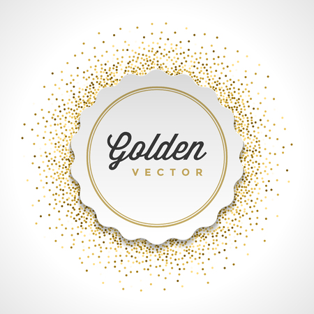gold circle: Gold Glitter Sparkles Bright Confetti White Paper Label Frame Vector Background. Good for Greeting Gold Cards, Luxury Invitation, Advertising, Voucher, Certificate, Banners, Golden Texture,