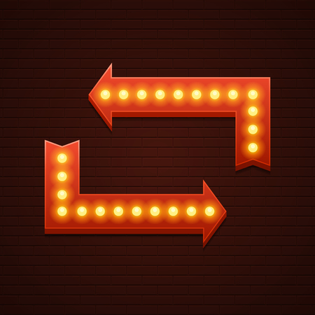 showtime: Retro Showtime Sign Design. Arrows Cinema Signage Light Bulbs Frame and Neon Lamps on brick wall background. American advertisement style vector illustration.