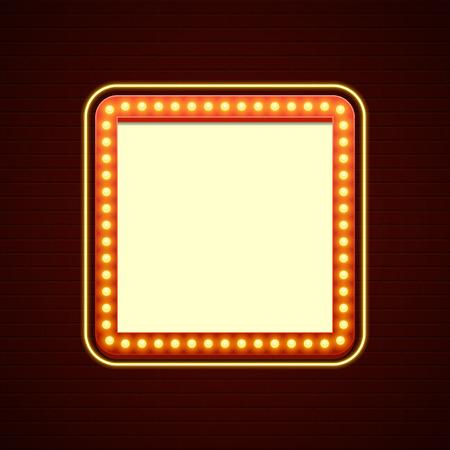 レトロなショータイムのサイン計画。シネマ看板電球フレームとレンガ壁の背景にネオンランプ。アメリカの広告スタイルのベクトル図です。1950 年