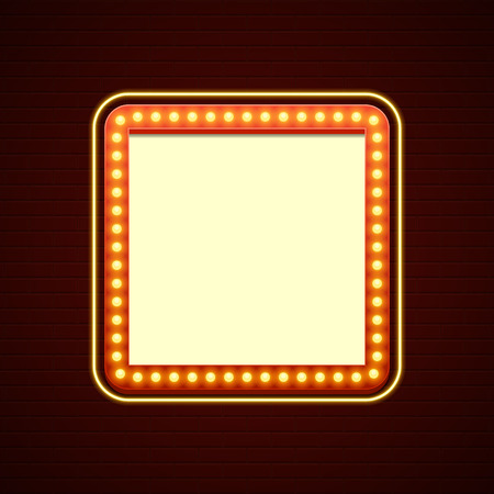 Retro Showtime Sign Design. Cinema Signage Light Bulbs Frame and Neon Lamps on brick wall background. American advertisement style vector illustration. 1950s Sign Design, Retro Signage, Sale. Иллюстрация