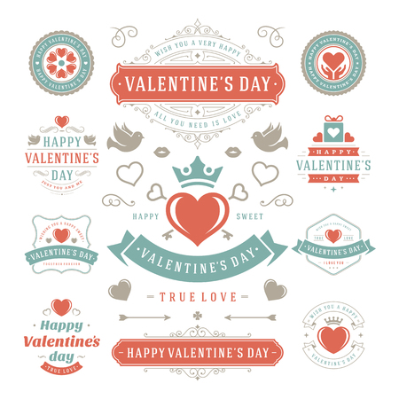 valentines day: Valentines Day Labels and Cards Set, Heart Icons Symbols, Greetings Cards, Silhouettes, Retro Typography Vector Design Elements. Valentines day cards, Valentines Badges, Valentines Day Vector Labels.