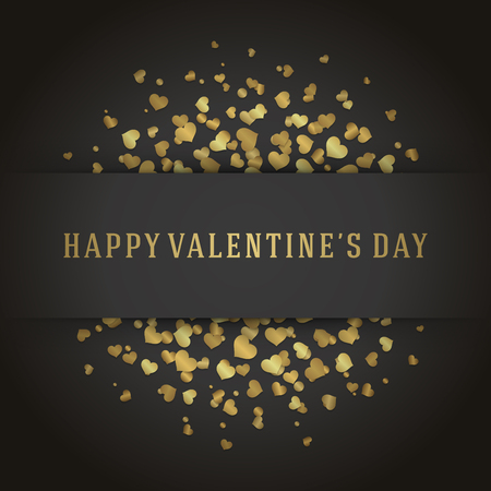 hearts background: Valentines Day Greeting Card or Poster Gold Hearts Confetti Vector Background. Happy Valentines Day background, Valentine Card, Love Concept.