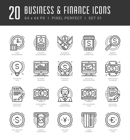 finance icons: Flat line icons set. Trendy Modern thin linear stroke vector icons Business and Finance concept. For website graphics, Mobile Apps, Infographics design, Brochures. Outline pictogram pack. Illustration