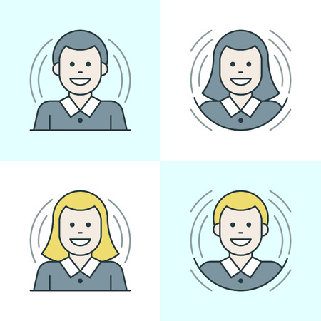 mobile operators: Flat line icons set. Thin linear stroke vector icons People Characters Woman and Man, Business Team concept. Website graphics, Mobile Apps, Infographics design. Outline pictogram pack. Illustration
