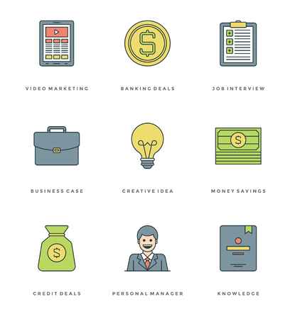cash book: Flat line simple icons set. Thin linear stroke vector icons Essentials objects concept. For website graphics, Mobile Apps, Infographics design, Brochures, Banners, Headers. Outline pictogram pack. Illustration