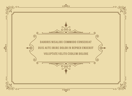 Cita del ornamento de la vendimia Marcas Box diseño de la plantilla vector del marco y el lugar de texto. Retro florece estilo de marco. Cita Diseño, Diseño Cita, Fondo de la vendimia, marco del vintage, ornamento de la vendimia. Ilustración de vector