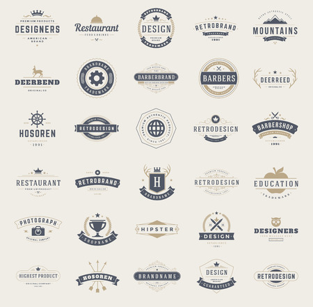business symbols: Vintage   Design Templates Set.