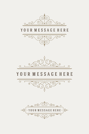 vintage scrolls: Vintage Ornaments Decorations Design Elements and Place For Text. Flourish calligraphic combinations retro design. For Menu Design, Invitations, Posters, Books, Greeting cards. Frames and scrolls set.