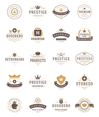 symbols: Vintage Crowns   Set. Vector design elements,