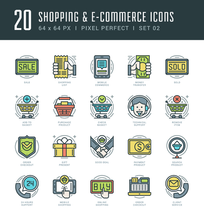 support center: Flat line icons set. Trendy Modern thin linear stroke vector Shopping and E-Commerce concept. For website graphics, Mobile Apps, Infographics design, Brochures. Outline pictogram pack. Illustration
