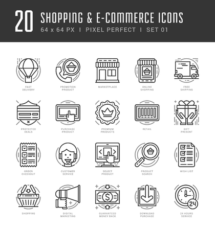 mobile apps: Flat line icons set. Trendy Modern thin linear stroke vector icons Shopping and E-Commerce concept. For website graphics, Mobile Apps, Infographics design, Brochures. Outline pictogram pack.