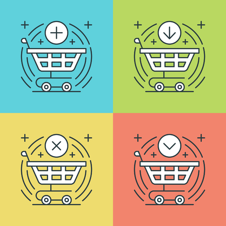 add: Flat line icons set. Thin linear stroke vector icons Shopping cart, Purchase Product, Buy Button, E-commerce symbols. Website graphics, Mobile Apps, Infographics design. Outline pictogram pack. Illustration