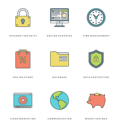 mobile apps: Flat line simple icons set. Thin linear stroke vector icons Essentials objects symbols. For website graphics, Mobile Apps, Infographics design, Brochures, Banners, Headers. Outline pictogram pack. Illustration