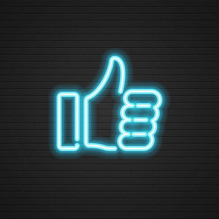 Neon Thumbs Up vector icon Hand, Social media symbol. Website graphics, Mobile Apps, Infographics design. Vettoriali