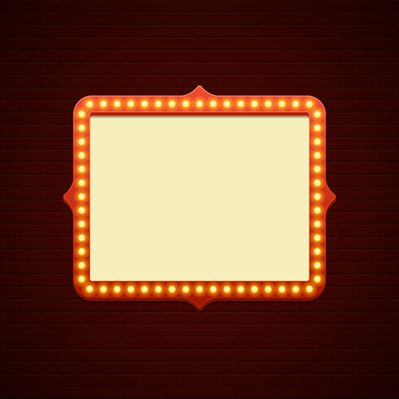 showtime: Retro Showtime Sign Design. Cinema Signage Light Bulbs Frame and Neon Lamps on brick wall background. American advertisement style vector illustration. 1950s Sign Design, Retro Signage, Sale. Illustration