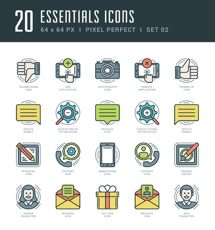 mobile apps: Flat line icons set. Trendy Modern thin linear stroke vector Essentials Objects concept. For website graphics, Mobile Apps, Infographics design, Brochures. Outline pictogram pack.