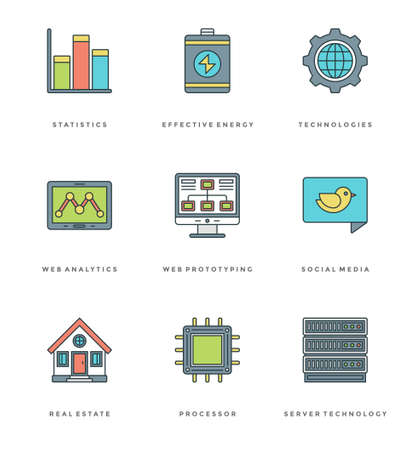 mobile apps: Flat line simple icons set. Thin linear stroke vector Essentials objects symbols. For website graphics, Mobile Apps, Infographics design, Brochures, Banners, Headers. Outline pictogram pack.