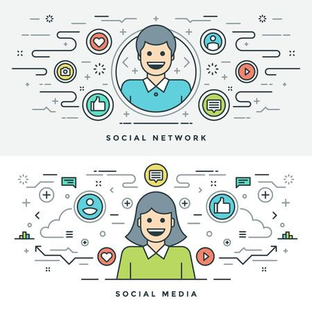 thumbs up group: Flat line Social Media and Network Concept Vector illustration. Modern thin linear stroke vector icons. Website Header Graphics, Banner, Infographics Design, Promotional Materials. People Icons. Illustration
