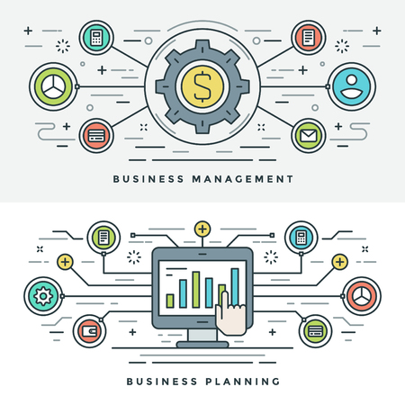 planning: Flat line Business Management and Planning Concept Vector illustration. Modern thin linear stroke vector icons. Website Header Graphics, Banner, Infographics Design, Promotional Materials. Money Icon. Illustration