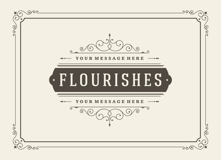 flourishes: Vintage Ornament Greeting Card Vector Template. Retro Luxury Invitation, Royal Certificate. Flourishes frame. Vintage Background, Vintage Frame, Vintage Ornament, Ornaments Vector, Ornamental Frame.