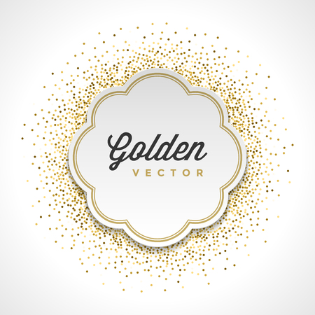 Gold Glitter Sparkles Bright Confetti White Paper Label Frame Vector Background. Good for Greeting Gold Cards, Luxury Invitation, Advertising, Voucher, Certificate, Banners, Golden Texture. Ilustracja