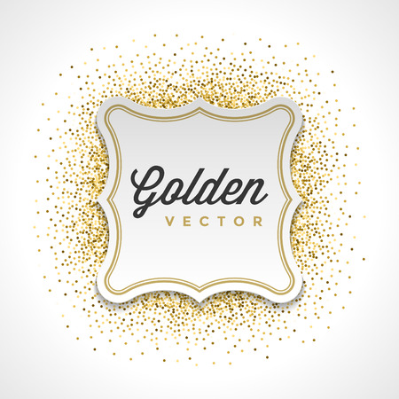 slick: Gold Glitter Sparkles Bright Confetti White Paper Label Frame Vector Background. Good for Greeting Gold Cards, Luxury Invitation, Advertising, Voucher, Certificate, Banners, Golden Texture. Illustration