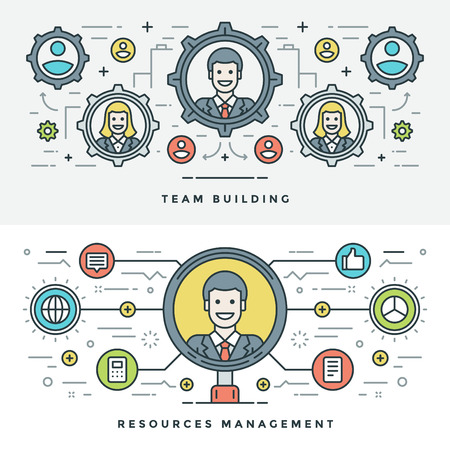building materials: Flat line Team Building and Management. Vector illustration. Modern thin linear stroke vector icons. Website Header Graphics, Banner, Infographics Design, Promotional Materials. People Icons.