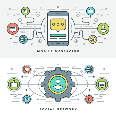 users video: Flat line Social Media and Mobile Messaging. Vector illustration. Modern thin linear stroke vector icons. Website Header Graphics, Banner, Infographics Design, Promotional Materials. Vector Icons. Illustration