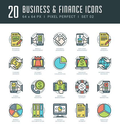 mobile website: Line icons set. Trendy Modern flat thin linear stroke vector Business and Finance concept. For website graphics, Mobile Apps, Infographics design, Brochures. Outline pictogram pack.