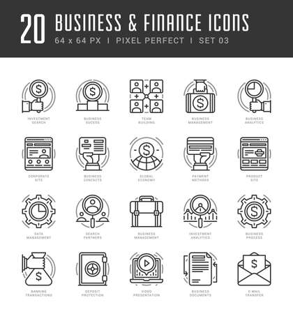 finance icons: Line icons set. Trendy Modern flat thin linear stroke vector Business and Finance concept. For website graphics, Mobile Apps, Infographics design, Brochures. Outline pictogram pack.