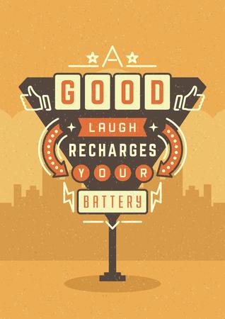 Sign Retro Billboard Typographic Citation Poster Design. Un bon rire Recharges votre batterie. Américaine vecteur de fond style de signalisation. Citation Signe, Rétro Citation Design Citation design, affiche de motivation.