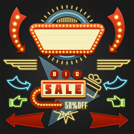 Retro Showtime Signs Design Elements Set. Bright Billboard Signage Light Bulbs, Frames, Arrows, Icons, Neon Lamps. American advertisement style vector illustration, 1950s Sign Design, Retro Signage. Иллюстрация
