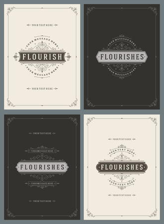 vintage: Ornement Vintage Greeting Cards Vector Templates Set. Rétro Invitations de luxe, certificat Royal, Couvertures. Flourishes cadre. Contexte Vintage, Vintage Frame, Ornement vintage, ornements vecteur.