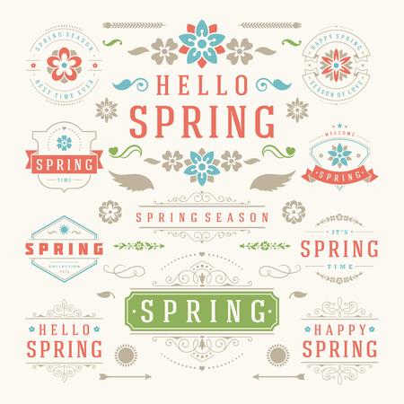 primavera: Primavera tipográfica del diseño determinado. Retro y plantillas de estilo de la vendimia. Elementos de diseño vectorial y los iconos. Primavera tarjetas de felicitación, Placas venta de primavera, primavera del vector, flores de vector. Vectores