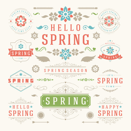 Spring Typographic Design Set. Retro and Vintage Style Templates. Vector Design Elements and Icons. Spring Greeting Cards, Spring Sale Badges, Spring Vector, Flowers Vector Collection. Illustration