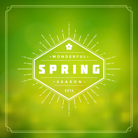 Spring Vector Typographic Poster or Greeting Card Design. Beautiful Blurred Lights with Bokeh and Flower Field. Spring Background, Spring Label, Spring Flowers, Spring Sale, Spring Advertising. Vettoriali