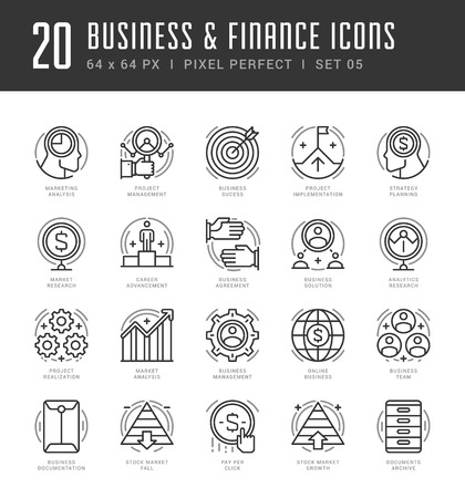 technology agreement: Line icons set. Trendy Modern flat thin linear stroke vector Business and Finance concept. For website graphics, Mobile Apps, Infographics design, Brochures. Outline pictogram pack.