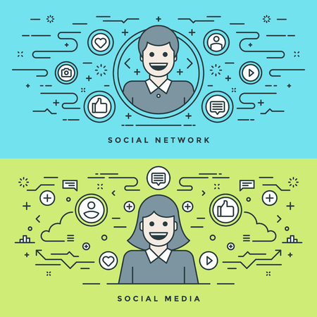 website header: Flat line Social Media and Network Concept Vector illustration. Modern thin linear stroke vector icons. Website Header Graphics, Banner, Infographics Design, Promotional Materials. People Icons. Illustration